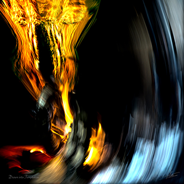 DRAWN INTO TEMPTATION Limited Photographic art by Loek van Walsem Drawn into temptation, we sink into the depths of emptiness or..... refind our true selves in infinite love